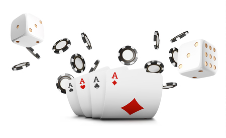 Carte da gioco, fiches da poker e dadi volano casinò su sfondo bianco. Illustrazione vettoriale di poker casinò. Concetto di vettore 3d del tavolo da gioco del gioco del casinò online