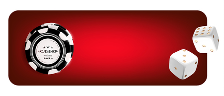 Top view of Casino chips, dice on red background. Online casino wide banner with black and white chip game on red table gambling 3d vector concept.