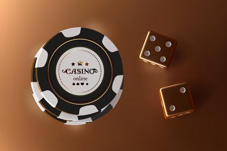 Jeu de dés et jetons de fond de casino. Vue de dessus des dés et des jetons dorés sur fond d'or. Concept de table de casino en ligne avec place pour le texte sur la puce.