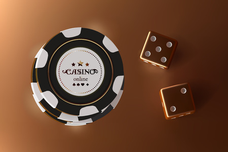 Casino background dice and chips. Top view of golden dice and chips on gold background. Online casino table concept with place for text on the chip.