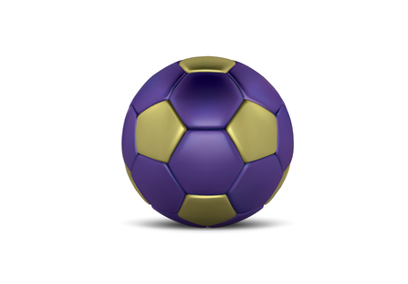 Blue Gold soccer ball on white background. Realistic 3d Blue football ball. Bronze blue football ball.