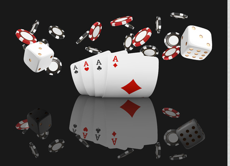 Playing cards and poker chips fly casino. Concept on black background. Poker casino vector illustration. Red and black realistic chip in the air. Gambling concept, poker mobile app icon Illustration