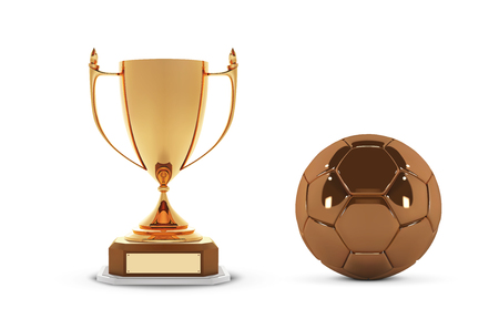 Realistic golden trophy Cup with gold ball. Winner Cup and football ball. Shiny golden 3d trophy awards on wooden shelf with soccer ball. Vector Illustration Illustration