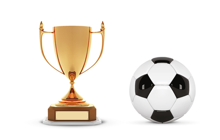 Realistic golden trophy Cup with soccer ball. Winner Cup and football ball. Shiny golden 3d trophy awards on wooden shelf with soccer ball. Vector Illustration