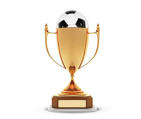 Realistic golden trophy Cup with gold ball inside. Winner Cup and football ball. Shiny golden 3d trophy awards on wooden shelf with soccer ball. Vector Illustration