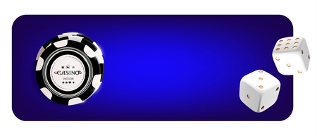Top view of Casino poker chips, dice on blue background. Online casino wide banner with black and white chip game on blue table and place for text. Gambling 3d vector concept