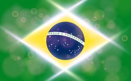 The national flag of Brasil. Modern vector pattern, banner of Brasil. Flat standard, design element for print, wallpaper, wrapping paper, websites. Vector illustration Ilustração