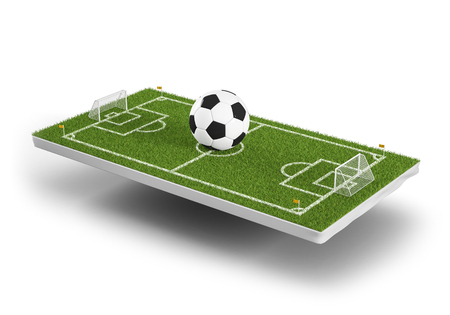 Green grass 3d soccer field and football ball background. Football stadium game 3d object area. Perspective view of soccer ball on the grass field. 3d rendering