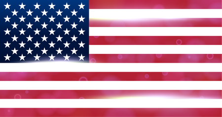 The national flag of the country of united states of America. Modern vector pattern, banner of USA. Flat standard, design element for print, wallpaper, wrapping paper, websites. Vector illustration