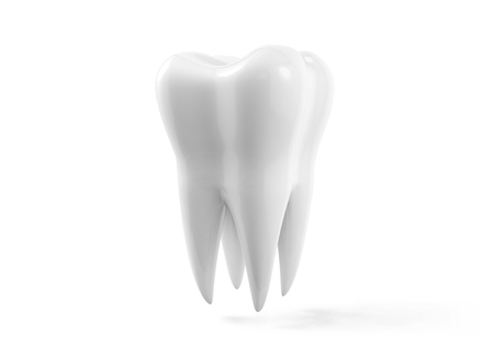 Photo-realistic illustration of a white tooth - isolated icon. Tooth isolated on white background. 3D render. Dental, medicine, health concept Stok Fotoğraf