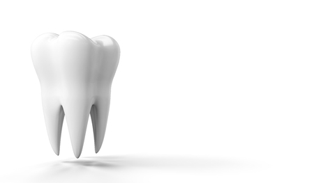 Photo-realistic illustration of a white tooth - isolated icon. Tooth isolated on white background. 3D render. Dental, medicine, health concept banner with place for text Banco de Imagens