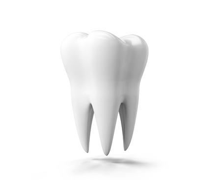 Photo-realistic illustration of a white tooth - isolated icon. Tooth isolated on white background. 3D render. Dental, medicine, health concept Banco de Imagens