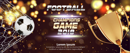 Soccer or Football wide Banner With 3d Ball on sparkling golden background. Soccer game match fire goal moment with ball in the net, golden trophy and place for text on dark background Illustration