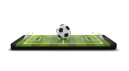Mobile soccer. Football field on the smartphone screen and ball. Online ticket sales concept. Black mobile phone and soccer ball isolated on white background. 3d rendering