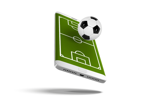Mobile football soccer. Mobile sport play match. Online soccer game with live mobile app. Football field on the smartphone screen and ball. Online ticket sales concept Ilustração