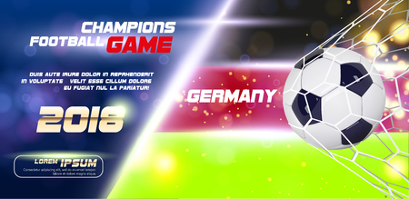 Soccer or Football wide Banner or flyer With 3d Ball on flag of Germany background. Germany football game match goal moment with realistic ball in the net and place for text