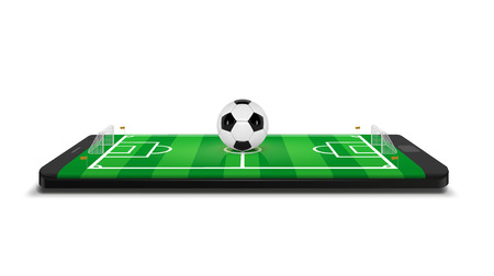 Mobile football soccer. Mobile sport play match. Online soccer game with live mobile app. Football field on the smartphone screen and ball. Online ticket sales concept  イラスト・ベクター素材