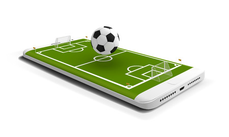 Mobile football soccer. Mobile sport play match. Online soccer game with live mobile app. Football field on the smartphone screen and ball. Online ticket sales concept Illustration