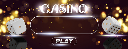 Top view of Casino sign poker dice on golden shiny background. Online casino wide flyer or banner design with place for text and button. Gambling 3d vector concept