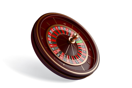 Casino roulette wheel isolated on white background. 3d realistic vector illustration. Online casino roulette gambling concept design.
