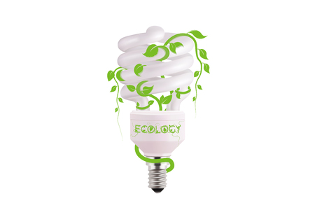 ecological lightbulb icon in vector format. Eco idea design of Vector green light. Light bulb and green leaves. Technology and nature connection. Concept