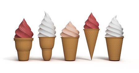 Ice cream. Set of summer sweetness. Milk, chocolate, vanilla, strawberry icecream. Cone cup Ice-cream. Sweet dessert. Frozen product. Isolated white background. 3D rendering.