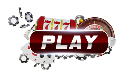 Red round play button with metallic border on white background. Casino playing cards, dice and chips. Online casino poker concept design. 3d vector illustration