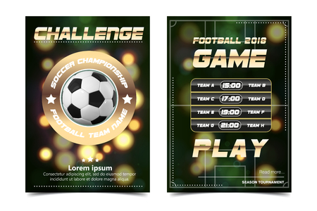 Soccer Poster Vector. Football Ball. Design For Sport Bar Promotion. Tournament, Championship Flyer Design. Football Club, Academy Flyer. Invitation Illustration