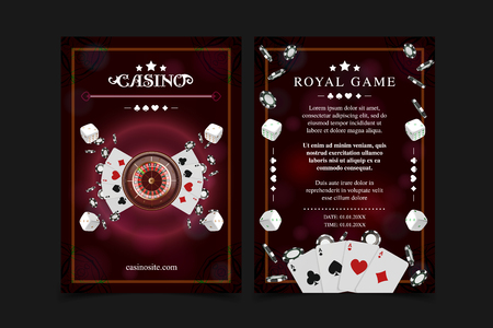 Casino background poster, flyer, Vip invitation poker game. Casino poster or banner background or flyer template. Playing Cards, dice, Chips. Game design concept. Playing casino games