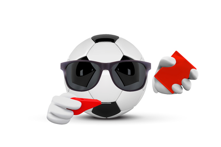 Soccer Ball Faceless Cartoon Mascot Character Referees Pointing And Showing Red Card. Vector Illustration Isolated On White Background.