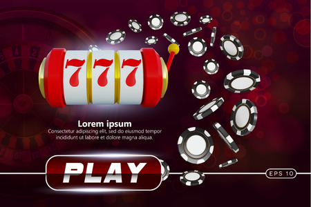 Casino background roulette wheel with playing chips. Online casino poker table concept design. Slot machine with lucky sevens jackpot. roulette chips on red background. Casino banner poster or flyer Vektoros illusztráció