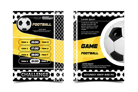 Soccer Poster design Vector. Football Ball concept. Design For Sport Bar Promotion. Tournament, Championship Flyer Design. Soccer Sport Club, Academy Flyer. Invitation Illustration.