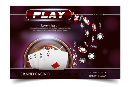 Casino background style Ace, Vip invitation poker game. Casino poster or banner background or flyer template. Playing Cards, dice, Chips. Game design. Playing casino games