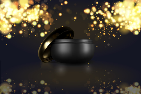 Beautiful cosmetic templates for ads, realistic 3d black matte cosmetic jar for skin care cream. Makeup magazine template with hair care products. Brand illustration on golden sparkle glitter lights.