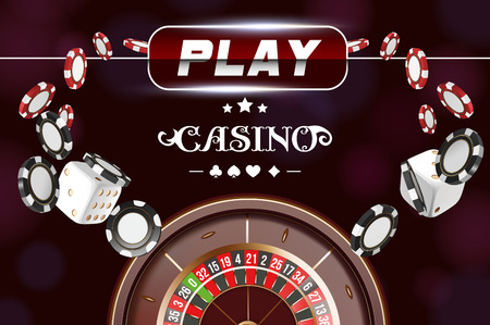 Casino background roulette wheel with dice and chips. Online casino poker table concept design. Top view of white dice and chips on black background. Casino sign. 3d vector illustration