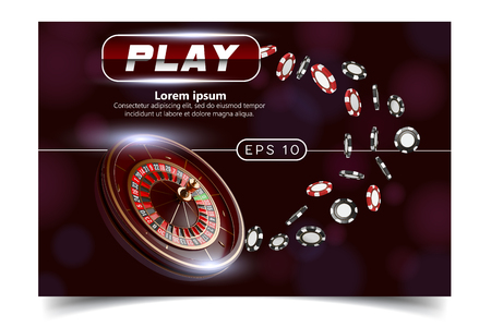 Casino background style Ace, Vip flyer invitation poker game. Casino poster or banner background or flyer template. Playing Cards, dice, Chips. Game design. Playing casino games
