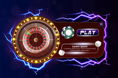 Casino poker web banner with chips, dice and play button. Casino game 3D chips. Online casino banner. Casino realistic chips. Gambling concept, poker mobile app icon. dice falling in the air.