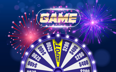 Vector fortune wheel, Online casino design concept. 3d object on abstract defocused circular blue bokeh background. Wheel of luck. Whill of fortune with game button. Reklamní fotografie