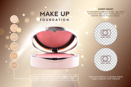 Cosmetic ads, pink 3D cheek blush or make up promotion powder ads. Modern Premium VIP ccosmetics package background. Make-up powder for sale. Elegant face powder compact illustration vector design