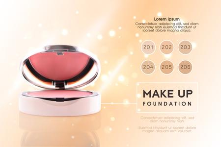 Annonces cosmétiques. Fard à joues 3D ou maquillage publicitaire en poudre. Fond de paquet de ccosmetics VIP Premium moderne Vente de poudre de maquillage. Conception de vecteur d'illustration compacte poudre élégante pour le visage Vecteurs