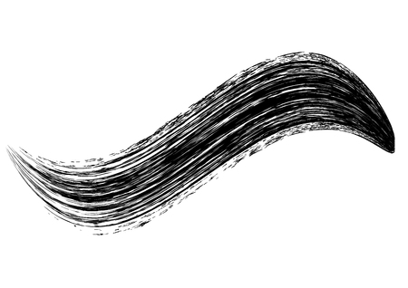 Vector make-up cosmetic mascara brush stroke texture design isolated on white. Realistic mascara smear template. Mascara eyelashes brush stroke makeup. Black hand drawn lash scribble swatch.