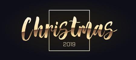Merry Christmas gold glitter lettering design.