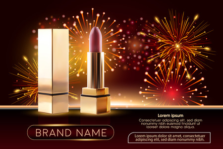 Makeup ads template Charming red lipstick mockup with sparkling Illustration