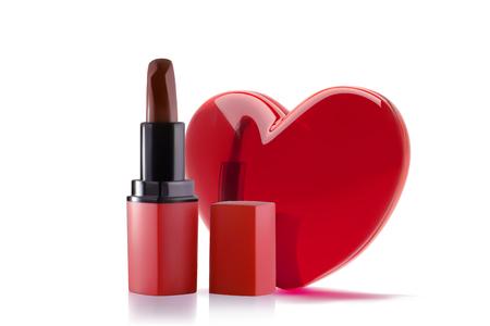 Red lipstick with 3d realistic heart. Lipstick Love concept banner design. Çizim