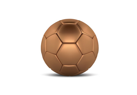 Gold soccer ball on white