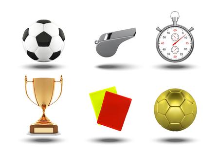 Ensemble d'icônes de football avec des objets d'arbitres