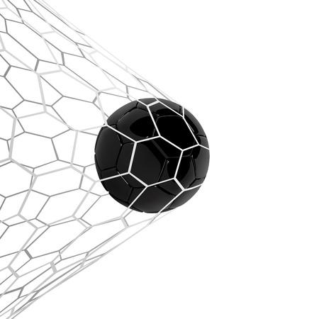 Realistic black soccer ball or football ball in net on black
