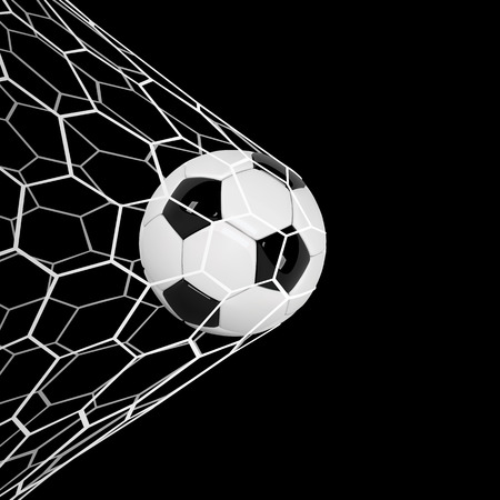 Realistic soccer ball or football ball in net on black
