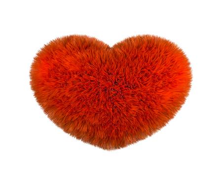 Red fluffy heart. Furry plush heart on white Reklamní fotografie