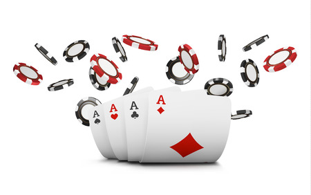 Playing cards and poker chips fly casino. Concept on white Stock Photo